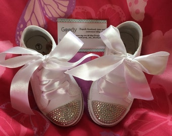 Girls blinged out shoes, blinged converse style, party shoes, little girls blinged shoes, flower girl shoes,  blinged shoes, bing trainer