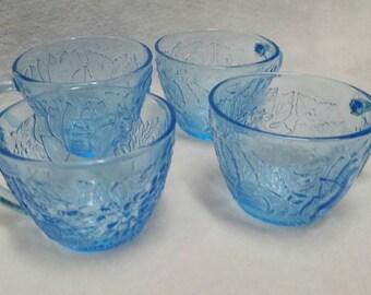 Vintage Ice blue Punch Glasses- set of 4
