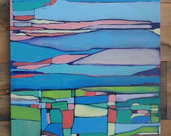 Abstract color web landscape acrylic on canvas