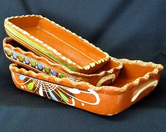 Mexican Tlaquepaque Redware Rectangular Pottery Nesting Dishes