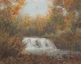 1993 Impressionist landscape waterfall oil painting signed