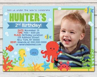 Under the Sea Boy Printable Birthday Photo Invitation - DIY - PDF & JPG Files only