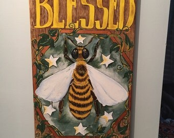 Blessed Bee - 12x24'' acrylic on canvas