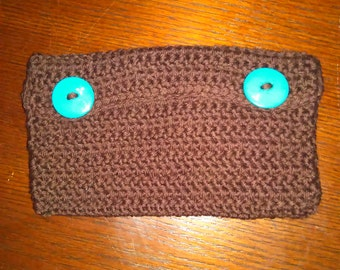 Handmade Clutch in brown and teal with white flower on back