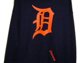Old english D Neon orange logo on Black pull over Hoodie all sizes.