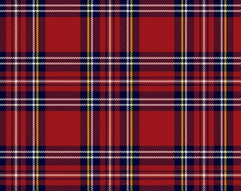 Royal Steward Plaid Flannel from Camelot Fabrics, Cotton, Fabric, rag quilt, blue, red, yellow, by the, metre, yard, lumberjack