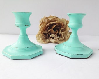 Repurposed Shabby Chic Brass Candle Holders / Shabby Chic Candle Holders / Aqua Candle Holders / Shabby Chic Aqua / Repurposed Candle Holder