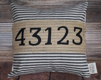 Zip Code Pillows. Number pillow. Burlap Pillow. Black Ticking Stripe Pillow. Home Decor. New Home Gift. Housewarming Gift. Wedding Gift
