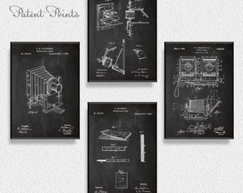 Photography Patents Set of 4 Prints, Photography Prints, Photography Posters, Photography Blueprints, Photography Art, Photography Wall Art
