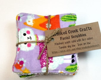 Llama Facial Scrubbies, Alpaca Facial Rounds, Cactus Facial Pads, Makeup Remover Pad, Face Wipe, Face Cloth, Cosmetic Pad, Reusable Pad