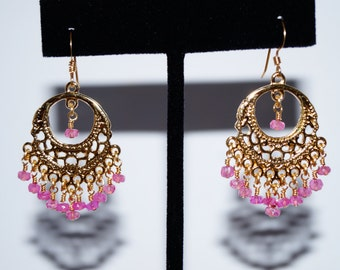 Pink Sapphire and Gold Filled Chandelier Earrings