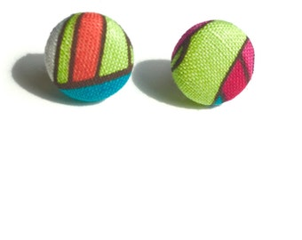 Abstract Colors Fabric Button Earrings - Blue