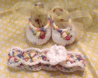 Crochet Ballerina Slippers and Headband