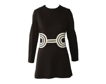 Vintage Gay Gibson Brown and Ivory Space Age Tunic 1960s