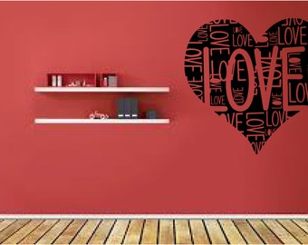Wall decal Love heart, heart, wall sticker, vinyl sticker decal