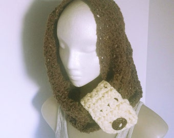 Crochet Mocha Cowl, Infinity Scarf, Hooded Cowl, Brown Scarves, Cowls with buttons, Fancy Scarf, Chunky Cowls,Ladies Scarves,Cowls for women