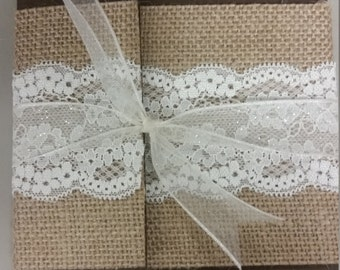 SAMPLE-Rustic Burlap and Lace Pocket Wedding Invitations