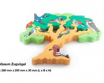 Wooden puzzle bird tree migratory birds / Waldorf / Montessori / Wooden Toys / Animal World / Birds / Puzzle / Learning / Handmade
