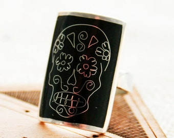 Silver  stylish cloisonne enamel ring Hot enamel ring   Skull Style  black  silver 925.