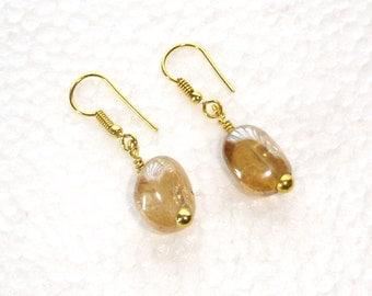 Gemstone Earrings, Champagne Quartz Earrings,