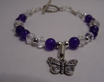 Butterfly Charm Bracelet-Purple Jade Bracelet-Faceted Crystal Bracelet-Antique Silver Toggle Clasp.Gift for the Ladies.
