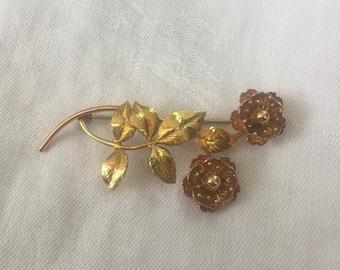 Krementz Flower Brooch, Vintage Krementz Flower Brooch, Flower Brooch, Flower Pin, Vintage Brooch, Vintage Flower Brooch, Signed Krementz