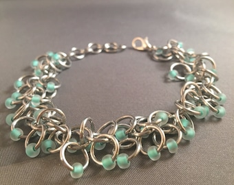 """7"""" Chainmail Bracelet, Shaggy Loops Weave with Frosted Mint Green Glass Beads"""