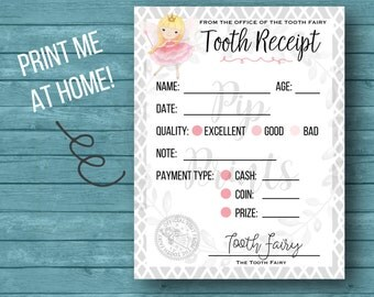 Printable Tooth Fairy Receipt- Instant Download PDF