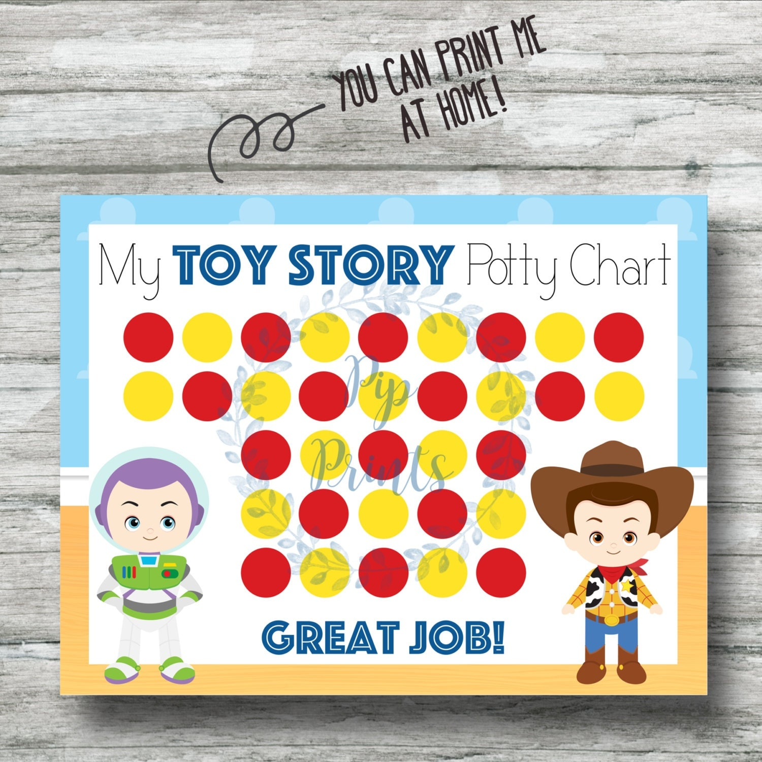 Toy Story Potty Chart : Printable toy story potty training chart instant download