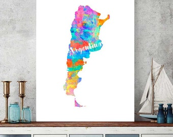 Argentina Map, Argentina Printable Map, Argentina Wall Art Decor, Watercolor Argentina Map Print, Argentinian Gift, Instant Download Map