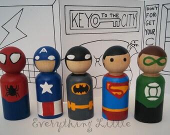 Superhero Wooden Peg Dolls