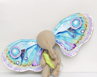 MAKE TO ORDER, The Elephant And The Dream,  Art Collectible Toy,  Magic Elephant, Butterfly Wings Elephant, Butterfly Wings, Fairy Tale