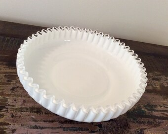 Vintage 1940s-1950s Fenton Milk Glass Silver Crest Shallow Bowl