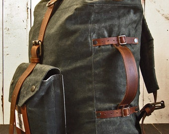 The Nomad II Backpack. Hand waxed canvas leather roll top bag - 3 ways rucksack, duffle bag, briefcase - Expandible waterproof haversack