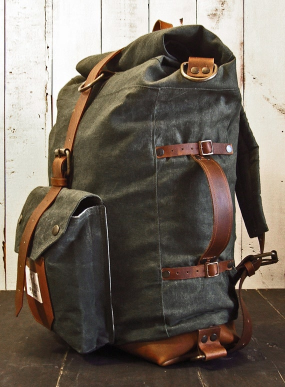 The Nomad Ii Backpack Hand Waxed Canvas Leather Roll Top Bag