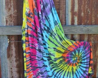 Tie dye full length beaded dress.