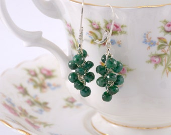 Sterling silver and emerald cluster earrings
