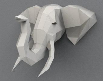 Download Print on A4 Elephant XXL sculpture 23,6Inch/60cm wide,Elephant trophy, animal trophy, Paper folding elephant, Paper trophy Papyrus.