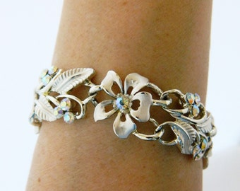 "Vintage 60s Aurora Borealis Bangle Rhinestone Bracelet Flower Leaf Chain Link Signed Star Silver Tone Mid Century Costume Jewelry 7.5"""