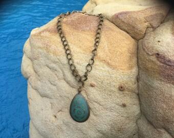 Turguoise on a braided chain