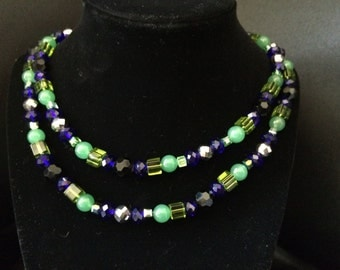 Blue and Green wrap necklace