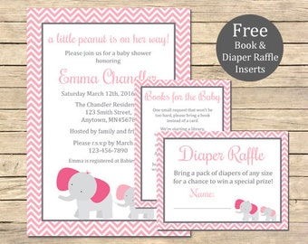Pink Elephant Baby Shower Printable Invitation, Book Insert & Diaper Insert, Elephant Baby Shower Invite Package, Baby Girl, Download, 004-P