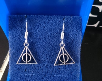 Harry Potter themed The deathly Hallows Earrings sterling silver hooks
