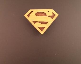 Superman Logo Wood Magnet Locker Magnet