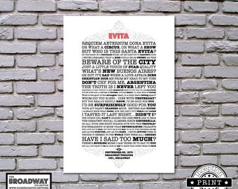 Evita - Broadway Collection - DIGITAL FILES ONLY - Quotes - Lyrics - Typography Print - Custom Print