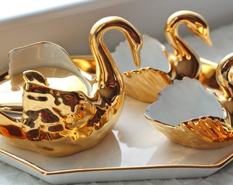 R Pastaud Limoges Porcelain and Gold Gilt Swan Salt / Pepper Cellar Trio