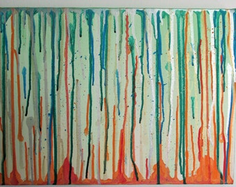 """Paint Drip Wall Art    16"""" x 12"""" Acrylic on Stretched Canvas"""