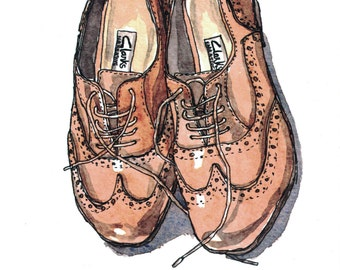 Brogues Shoes Art Print - A5 Print - Art Prints - Wall Art - Brogue Illustration - Watercolour Illustration - Shoe Art - Shoe Watercolour