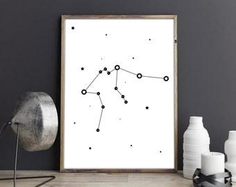 Zodiac Aquarius art, Aquarius constellation print, Printable poster, Astrology art, Home wall art, Living room wall prints