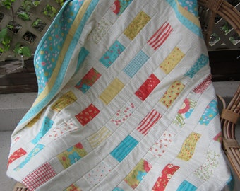 I Love These Colors!  Handmade, Modern Quilt, Girl Quilt, Baby Quilt, Cotton Quilt, Baby Blanket, Nursery Bedding, Crib Quilt,